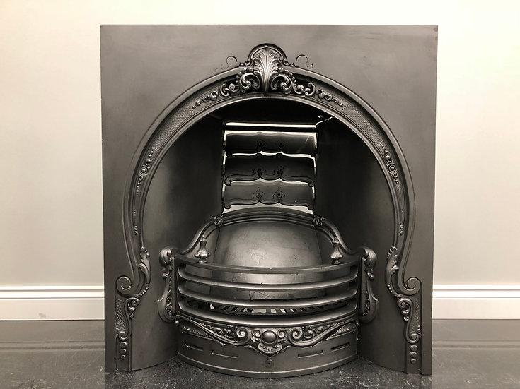 Fully Restored Original Antique Regency Arched Insert Grate Fire Fireplace