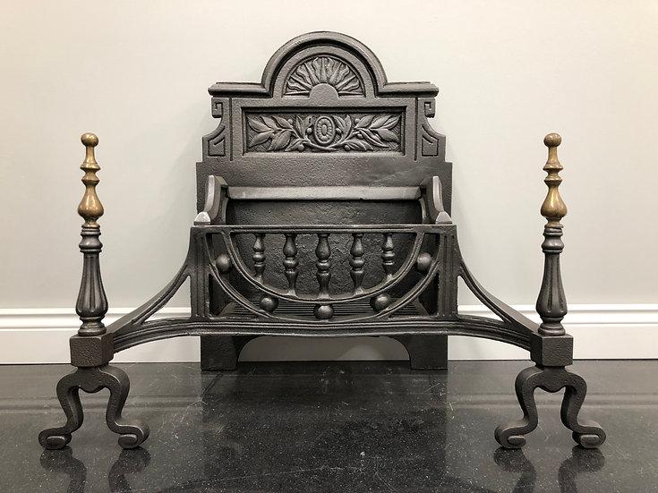 Original Edwardian Arts & Crafts Brass & Cast Iron Fire Grate Dog Basket