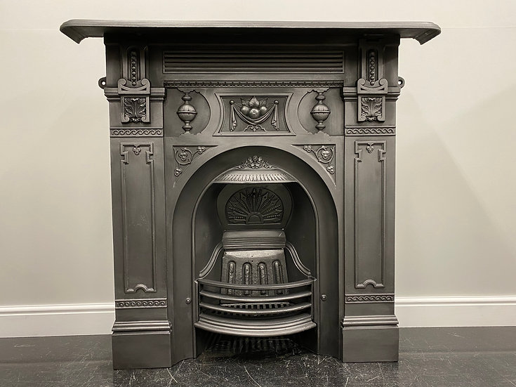 Original Antique Victorian Large Bedroom Combination Grate Cast Iron Fireplace