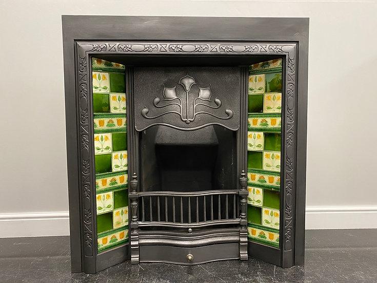 Original Antique Art Nouveau Cast Iron Tiled Fireplace Fire Insert