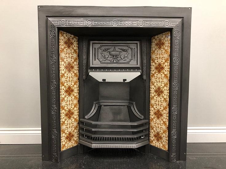 Original Antique Edwardian Cast Iron Tiled Fireplace Insert