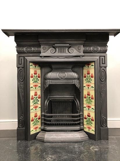 Original Antique Art Nouveau Tiled Cast Iron Combination Grate Fireplace