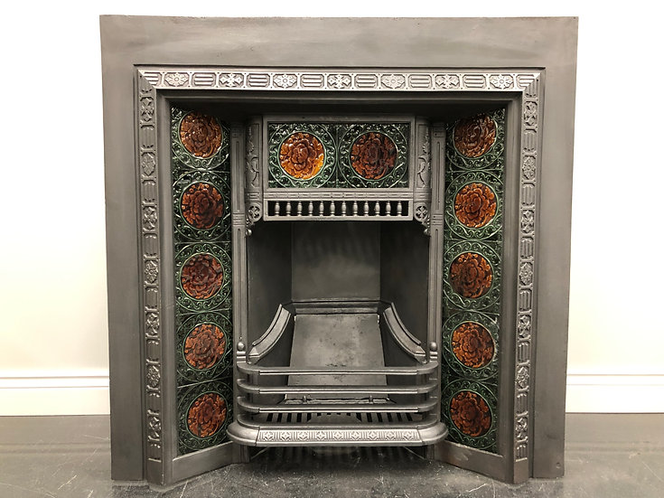 Original Antique Victorian Cast Iron Tiled Fireplace Insert
