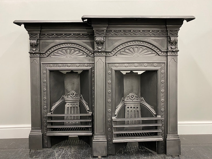 Original Antique Matching Pair Bedroom Victorian Combination Grate Fireplaces