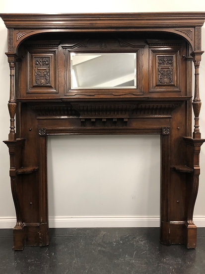 Original Antique Arts and Crafts Oak Wood Over Mantle Fireplace Fire S