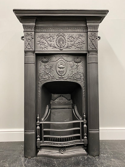 Original Antique Victorian Bedroom Combination Grate Cast Iron Fireplace