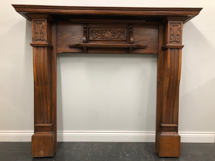 Restored Original Antique Edwardian Oak Wood Fireplace Fire Surround
