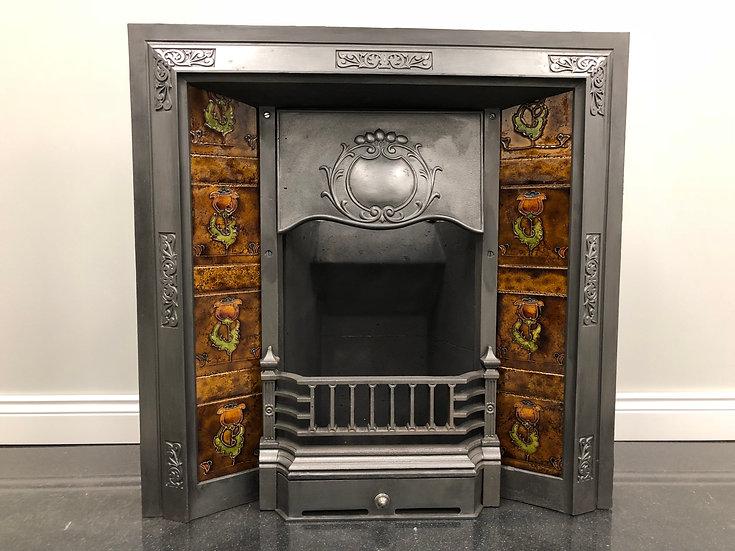 Original Antique Art Nouveau Cast Iron Tiled Fireplace Insert