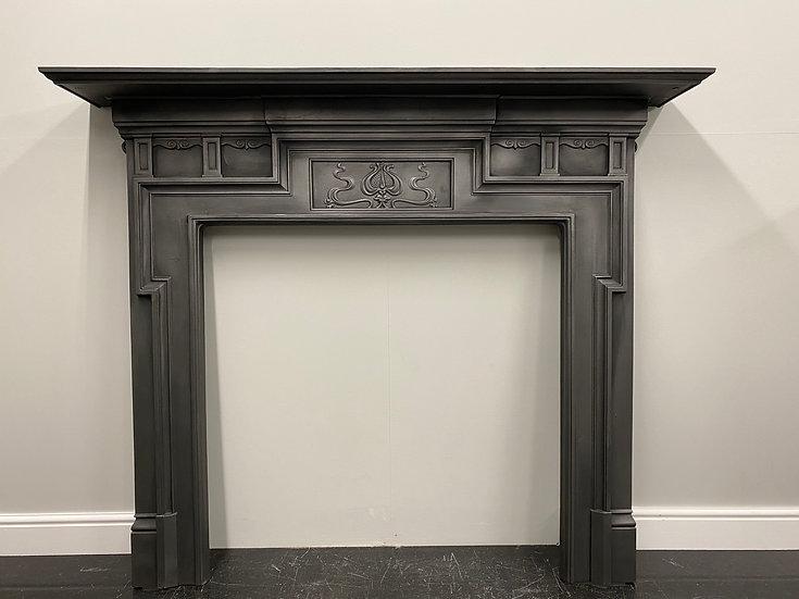 Original Antique Victorian Art Nouveau Cast Iron Fireplace Fire Surround