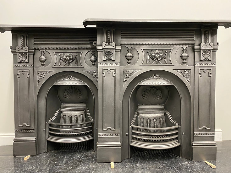 Pair of Antique Victorian Large Bedroom Combination Grate Cast Iron Fireplaces