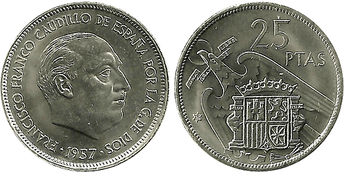 25 PESETAS, 1957 (*70). SC