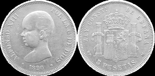 5 PESETAS, 1890, (*18, *90). MPM (MBC+)
