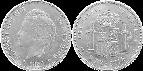 5 PESETAS, 1893 (*18, *93). PGL. (EBC-/EBC)