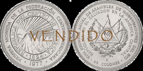 EL SALVADOR, 25 COLONES. 1977. (SC)