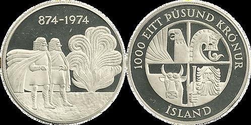 ISLANDIA, 1000 KRONUR, 1974 (PROOF)