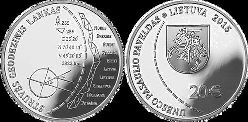 LITUANIA, 20 EUROS. 2015. PROOF.