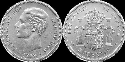 5 PESETAS, 1878 DE M. (*18, *78.) (EBC-)