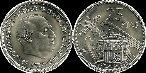 25 PESETAS, 1957 (*69). SC