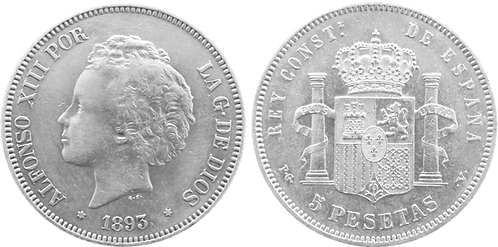 5 PESETAS, 1893 (*18, *93). PGV (MBC+/EBC-)