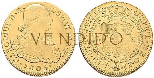 CARLOS IV. 1805_POPAYAN, JT. 8 escudos. MBC+/EBC-