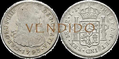 CARLOS IV. 1793_LIMA, IJ. 8 reales. MBC+/EBC-