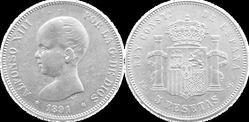 5 PESETAS, 1891, (*18, *91). PGM (EBC-)