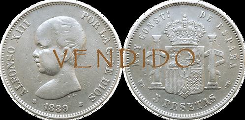 5 PESETAS, 1889, (*18, *89). MPM (MBC+)