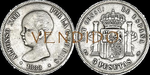 5 PESETAS, 1888 (*18, *88). MS M. (MBC-)