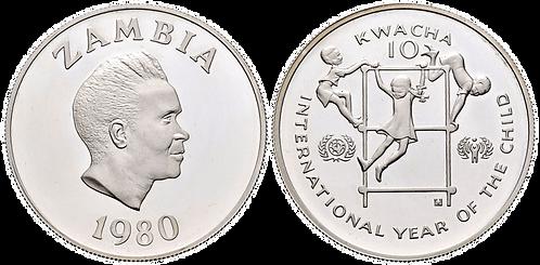 ZAMBIA, 10 KWACHA, 1980. (PROOF)