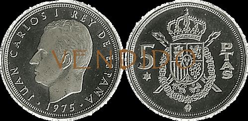 5 PESETAS, 1975 (*76). PROOF