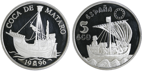 5 ECU, 1996. COCA DE MATARÓ. PROOF