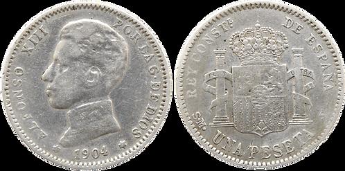 1 PESETA, 1904 (*__, *__). SMV. MBC-
