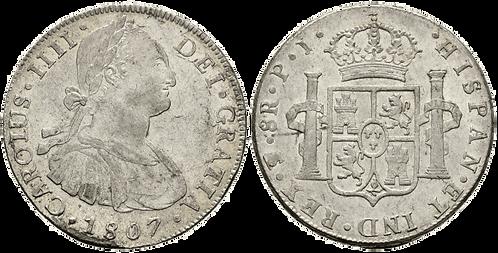 CARLOS IV. 1807_POTOSI, PJ. 8 reales. EBC