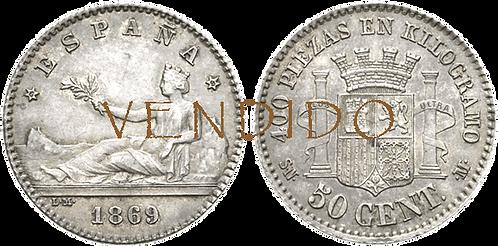 50 CÉNTIMOS, 1869 (*6 *9). SNM. EBC+