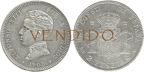 2 PESETAS, 1905. (*19, *05). SMV. EBC