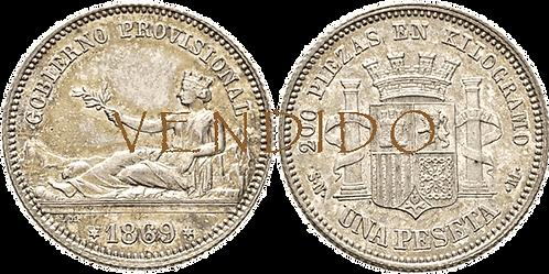 1 PESETA, 1869. SNM. SC-