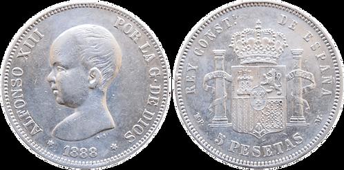 5 PESETAS, 1888 (*18, *88). MP M. (EBC-)