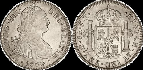 CARLOS IV. 1802_MEJICO, FT. 8 reales. EBC/EBC+