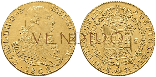 CARLOS IV. 1802_MADRID, FA. 8 escudos. EBC+