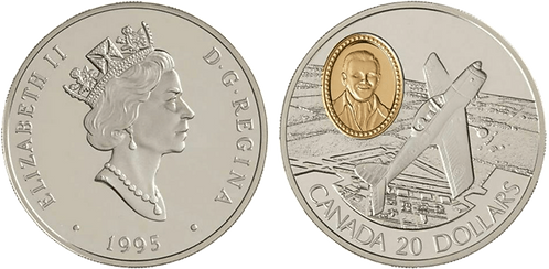 CANADA, 20 DOLARES, 1995.  PROOF. Gold Plated.