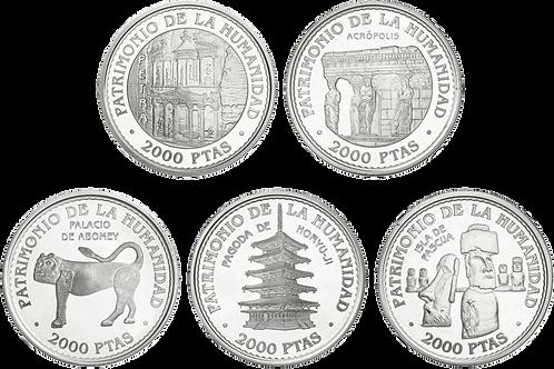 UNESCO 2ª SERIE 5 Monedas de 2000 PESETAS 1997