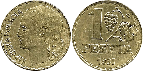 1 PESETA. 1937. EBC+