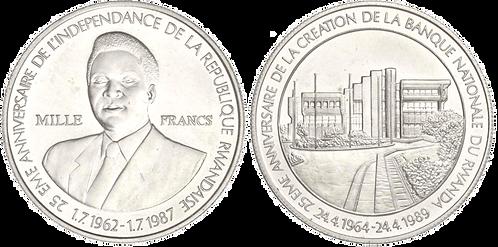 RUANDA, 1000 FRANCOS, 1989. (SC)