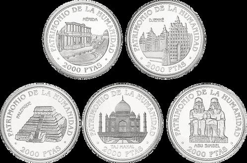 UNESCO 1ª SERIE 5 Monedas de 2000 PESETAS 1996