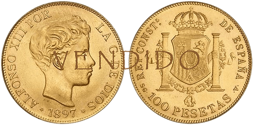 Reacuñación Oficial. 100 Pesetas 1897 *19-62 Madrid SG