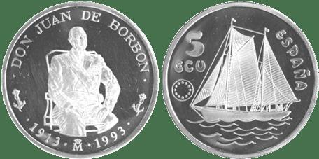 5 ECU, 1993. DON JUAN DE BORBÓN. PROOF