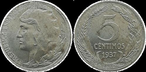 5 CTS. 1937. EBC+ (Cabeza Grande)