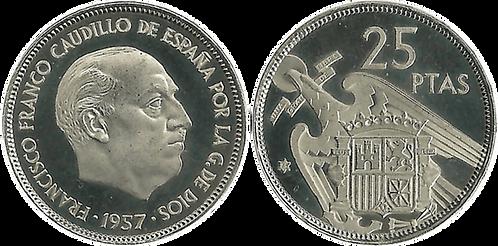 25 PESETAS, 1957 (*75). PROOF