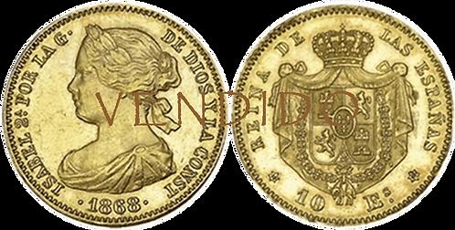 10 ESCUDOS. 1868 *18, *68. (EBC)