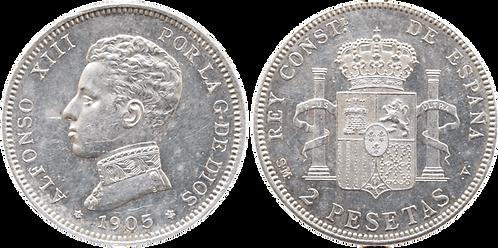2 PESETAS, 1905 (*19, *05). SMV. SC